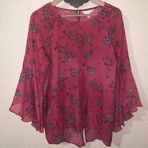 Women's LC Lauren Conrad berry Petal Sleeve Blouse
